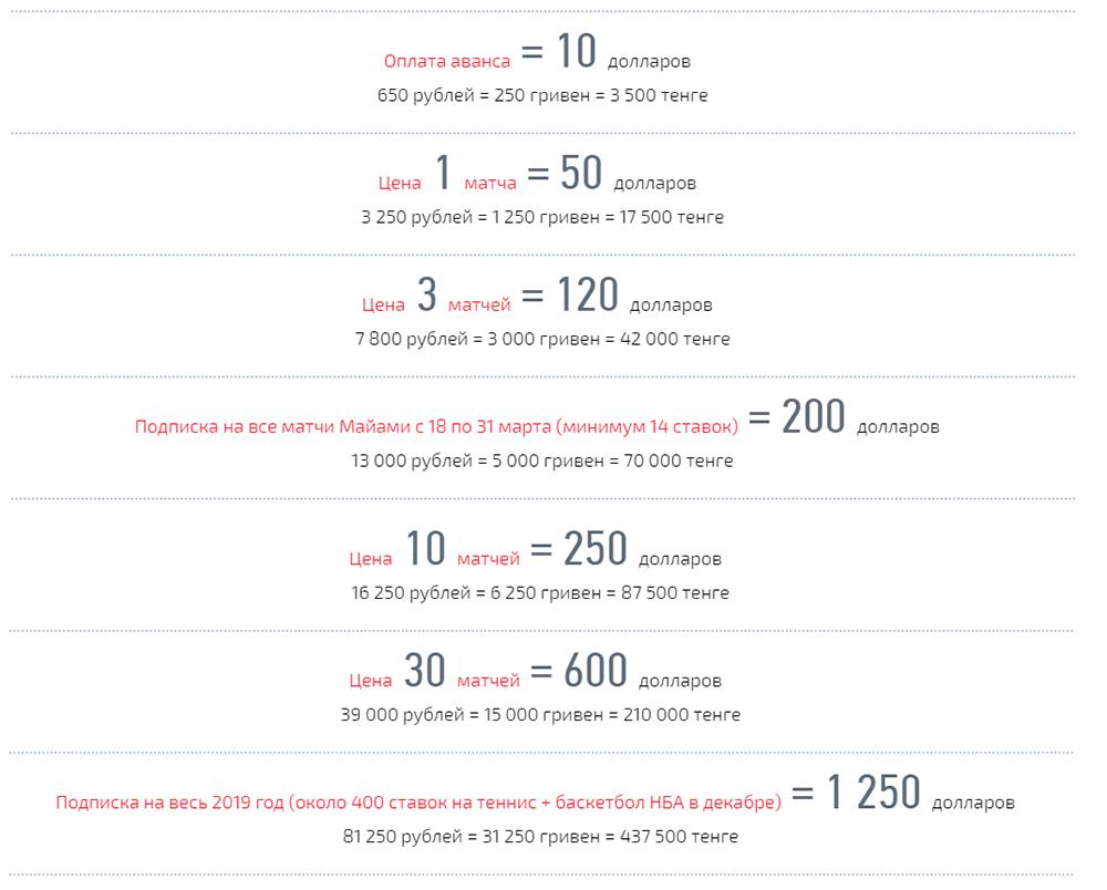 Цены сайта bewinto.com