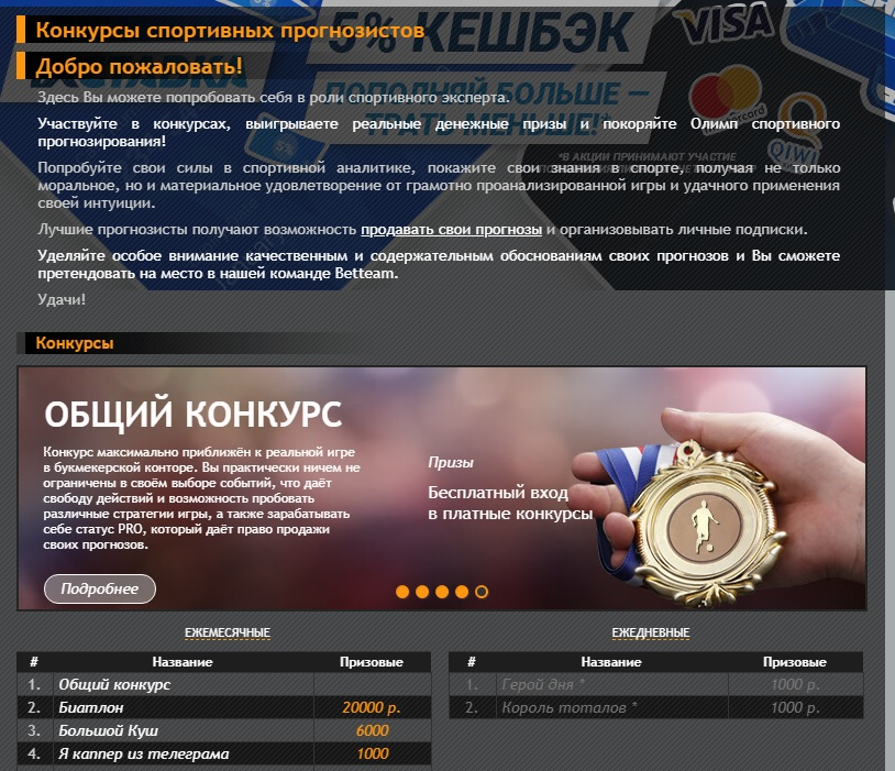 Конкурсы сайта