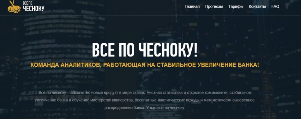 Внешний вид сайта  chesnok.pro