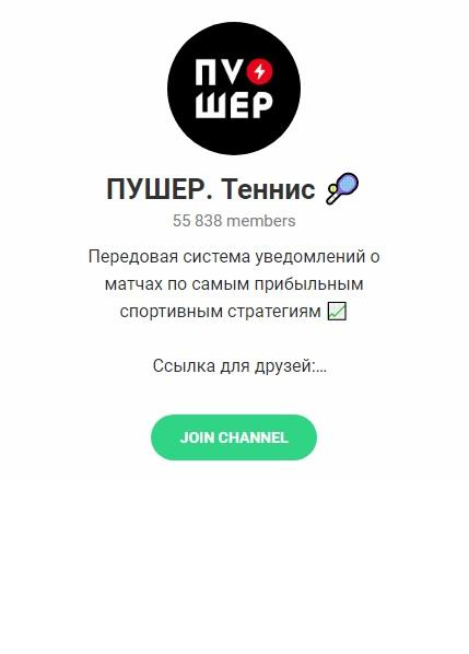 Внешний вид телеграм канала ПУШЕР. Теннис 🎾