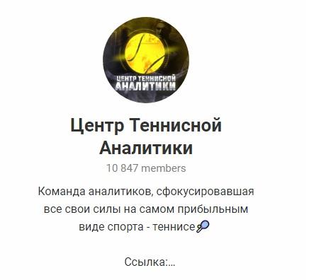 Внешний вид телеграм канала Центр Теннисной Аналитики