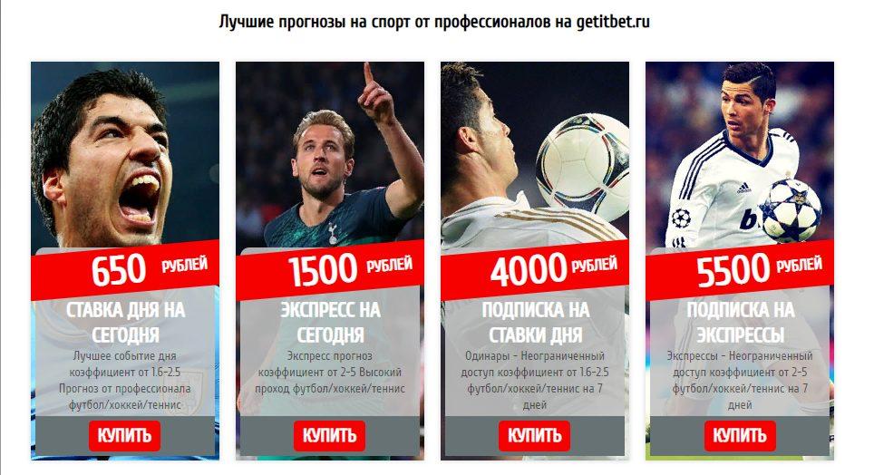 Цены прогнозов GetitBet.ru