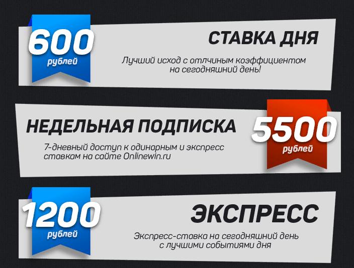 Цены прогнозов Onlinewin.ru