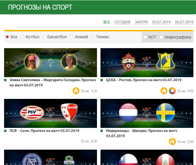Прогнозы сайта Ratingbet.com