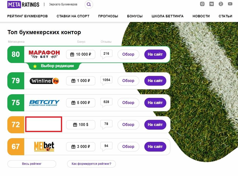 Внешний вид сайта MetaRatings.ru