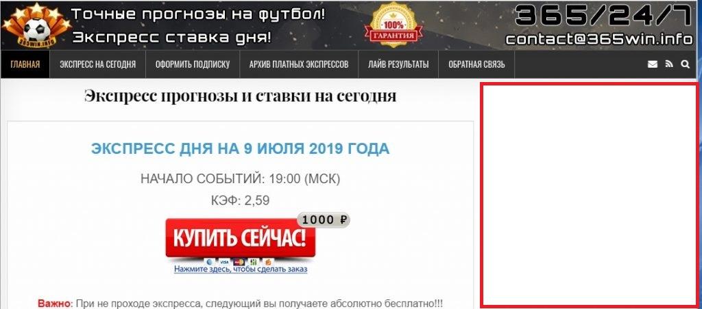 Внешний вид сайта 365win.info