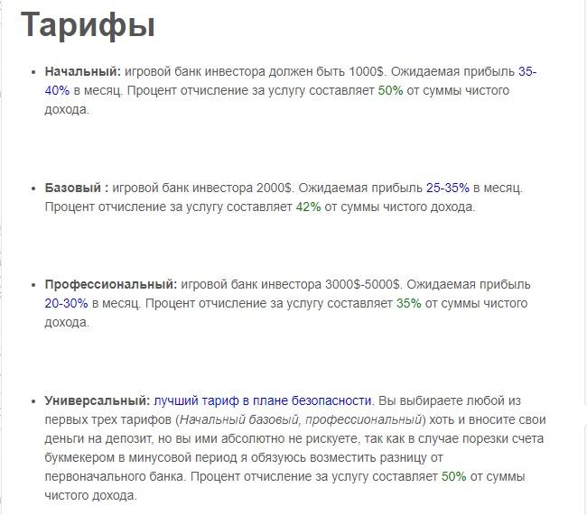 Тарифы сайта betbread.com