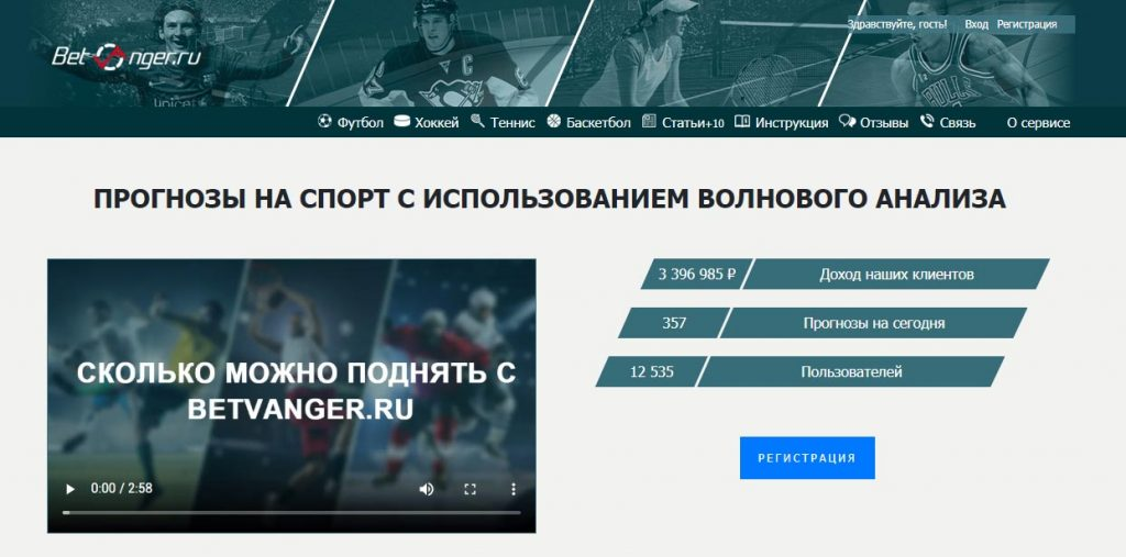 Внешний вид сайта betvanger.ru