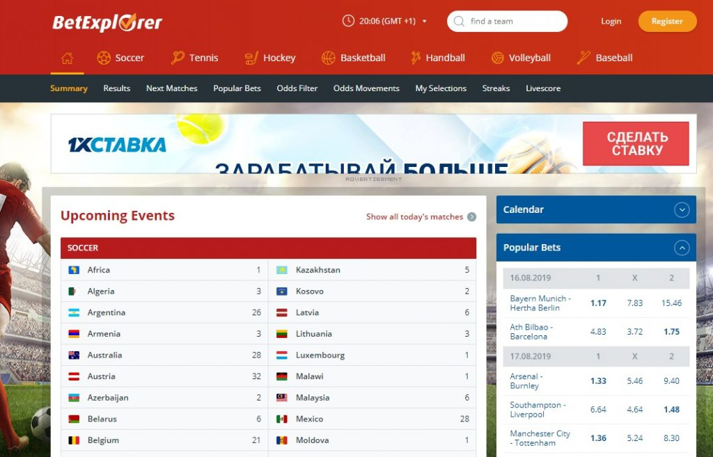 Внешний вид сайта betexplorer.com