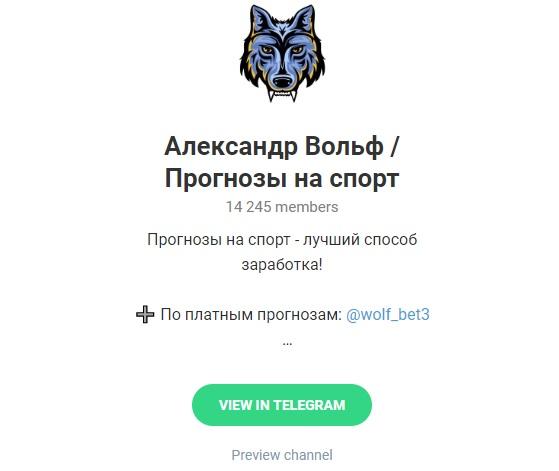 Внешний вид телеграм канала Александр Вольф (wolf bet)