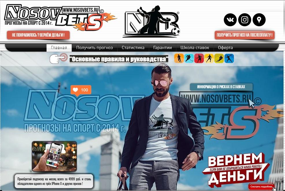Внешний вид сайта nosovbets.ru