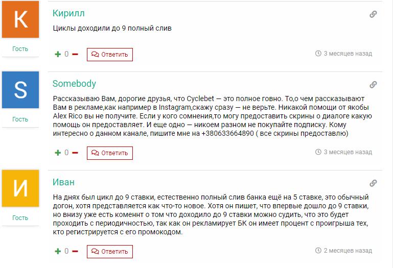 Отзывы о телеграм канале CycleBet от Alex Rico