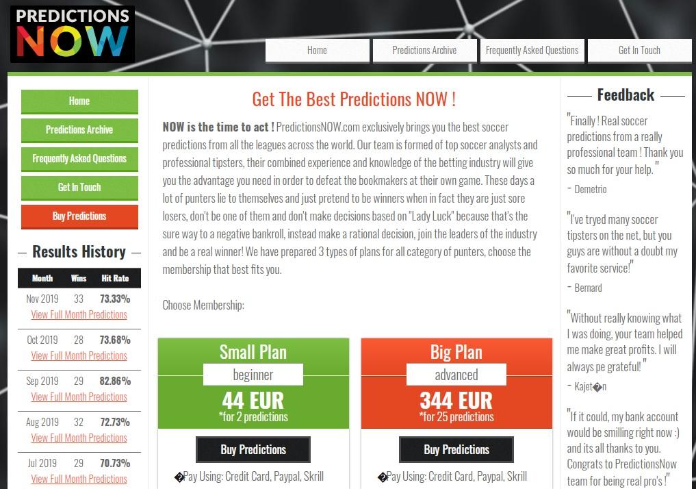 Внешний вид сайта Predictionsnow.com