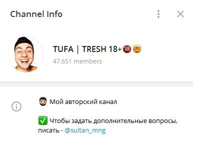 Внешний вид телеграм канала tufa tresh