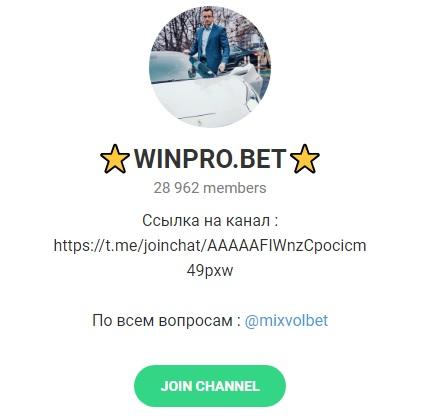 Внешний вид канала winpro bet