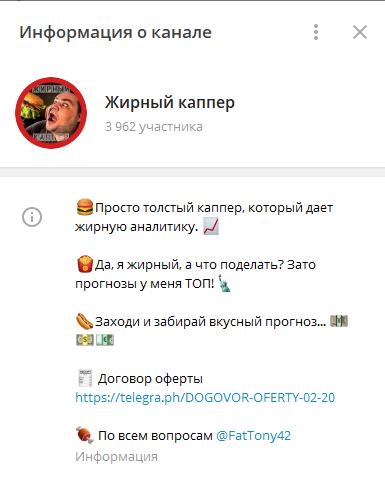 Телеграм-канал «Жирный Каппер»