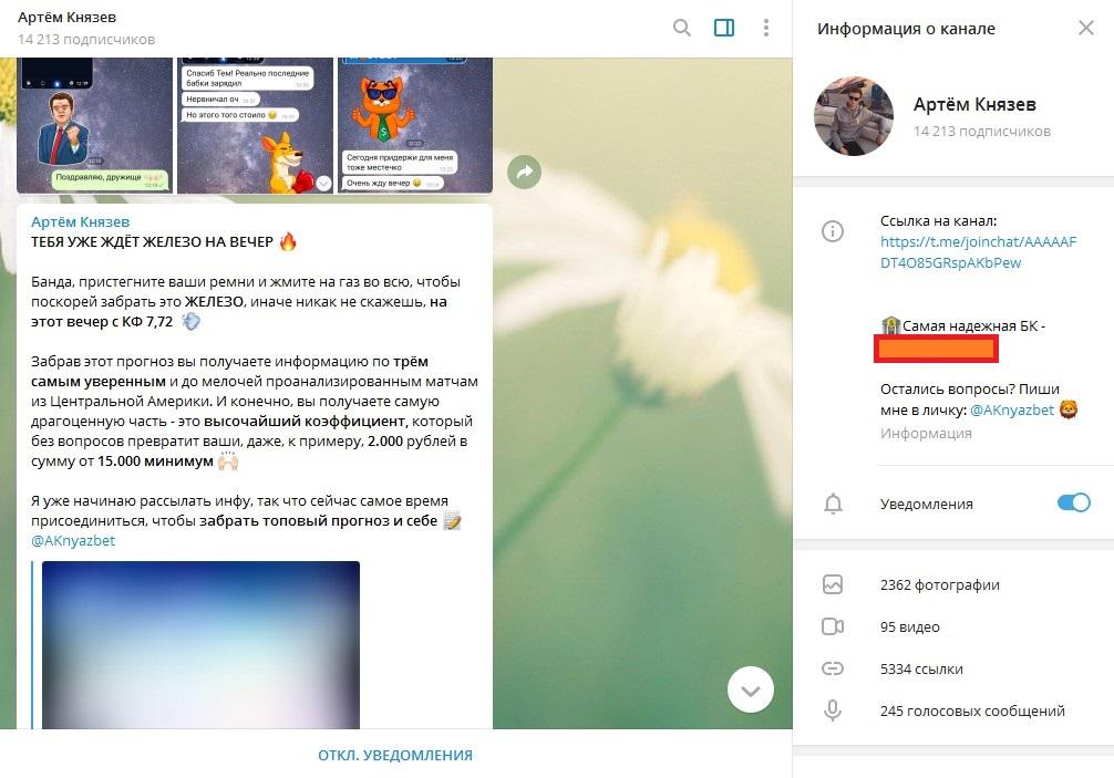 Телеграм-канал Артема Князева
