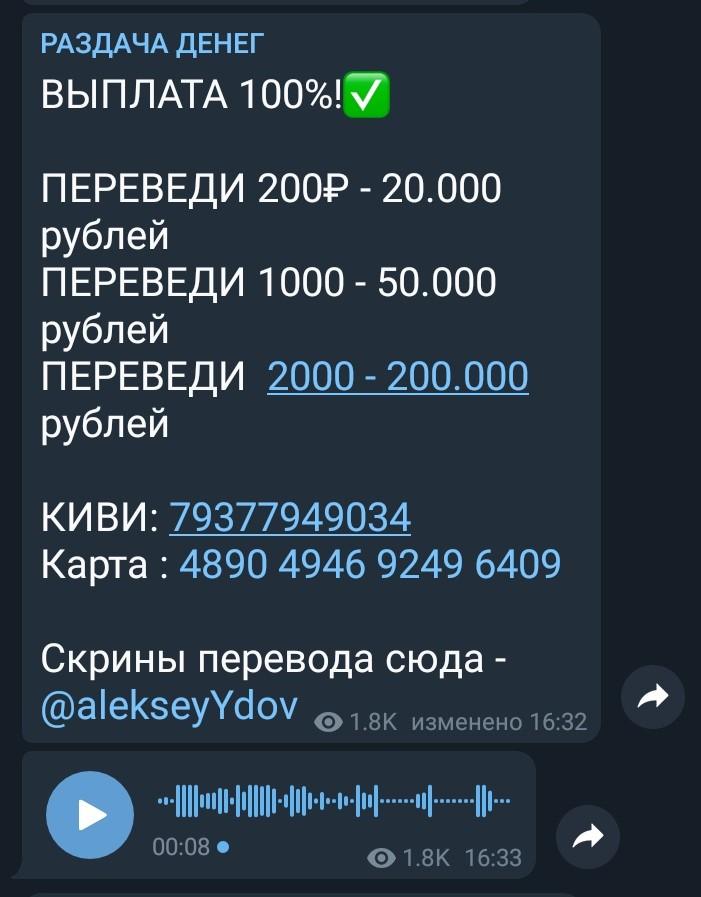 Схема раздачи денег в Телеграм