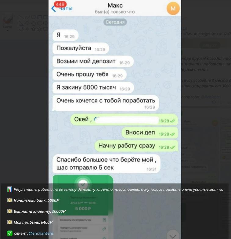 Выкладывает в ленте скриншоты переводов клиентам