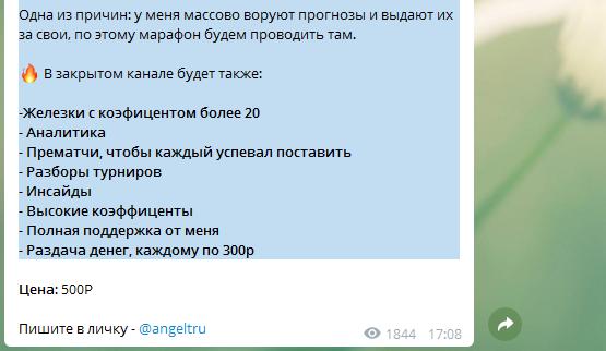 Участие в закрытом ВИП-чате стоит 500 руб