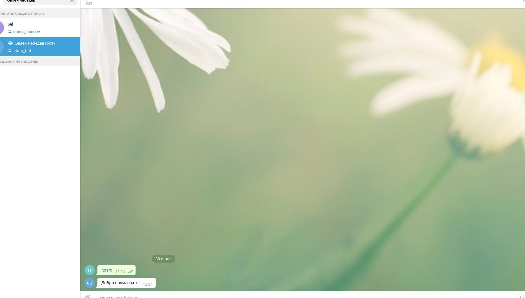 Бот в Телеграм Лебедев