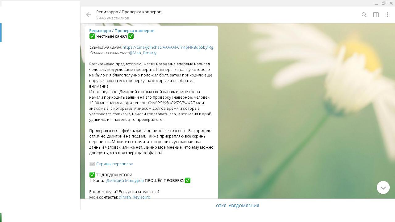 Аналитик размещает ссылку на канал в «Телеграм» о ставках на спорт