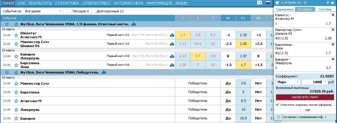 Заключение пари на ТБ 1.25 в футболе