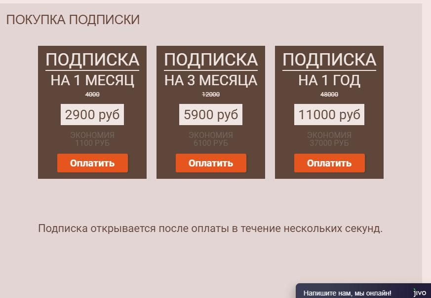 Цена подписки