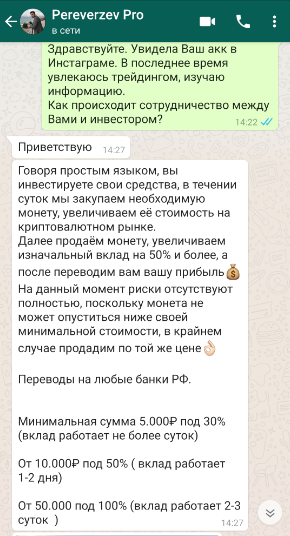 В процессе общения pereverzev.pro рассказал принцип инвестирования