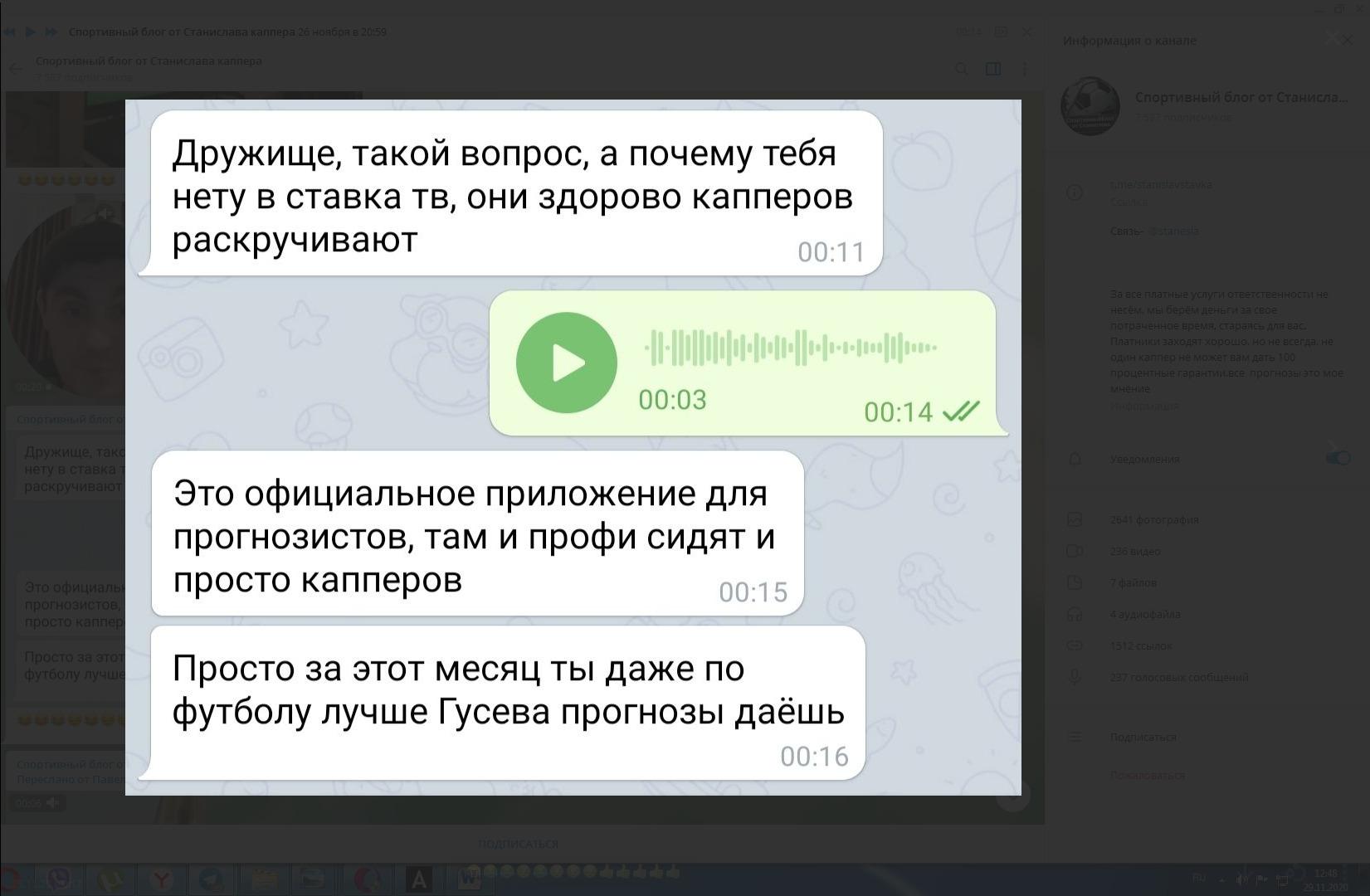 Скриншот переписки с пользователем