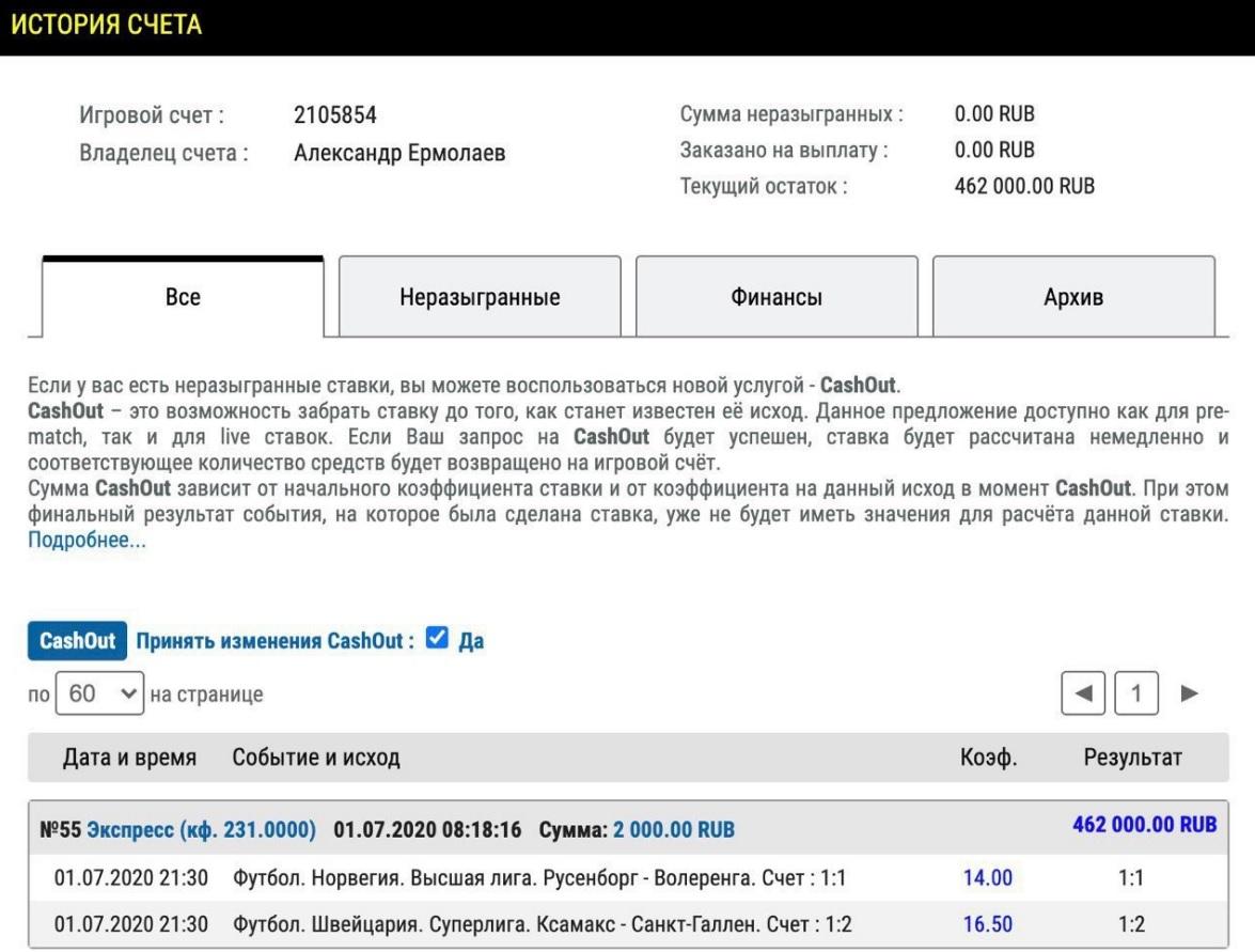 Скриншоты истории своего счета в БК