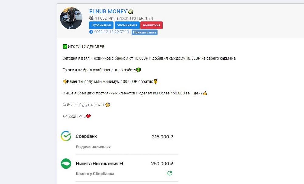 Деятельность каппера Elnur Money