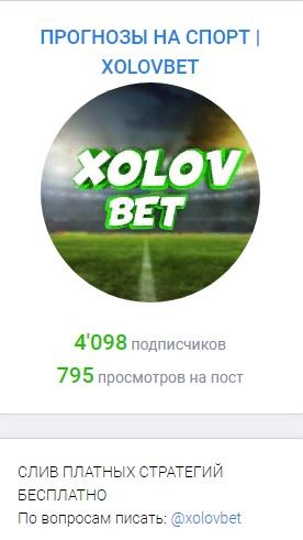 Количество подписчиков канала XOLOVBET