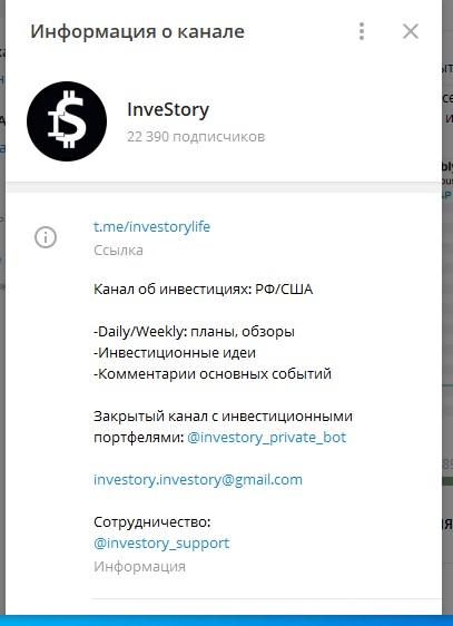 Канал «Инвестори» в Telegram