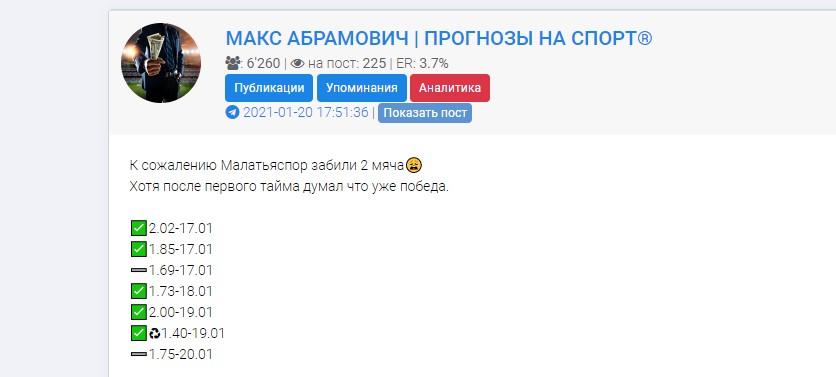 Прогнозы на спорт Макса Абрамовича не 100% верные