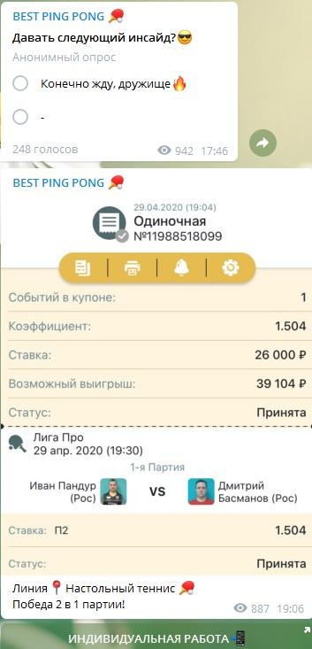 Скриншоты купонов на настольный теннис