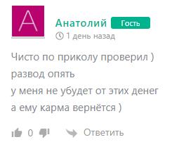 Автор комментария называет проект разводом