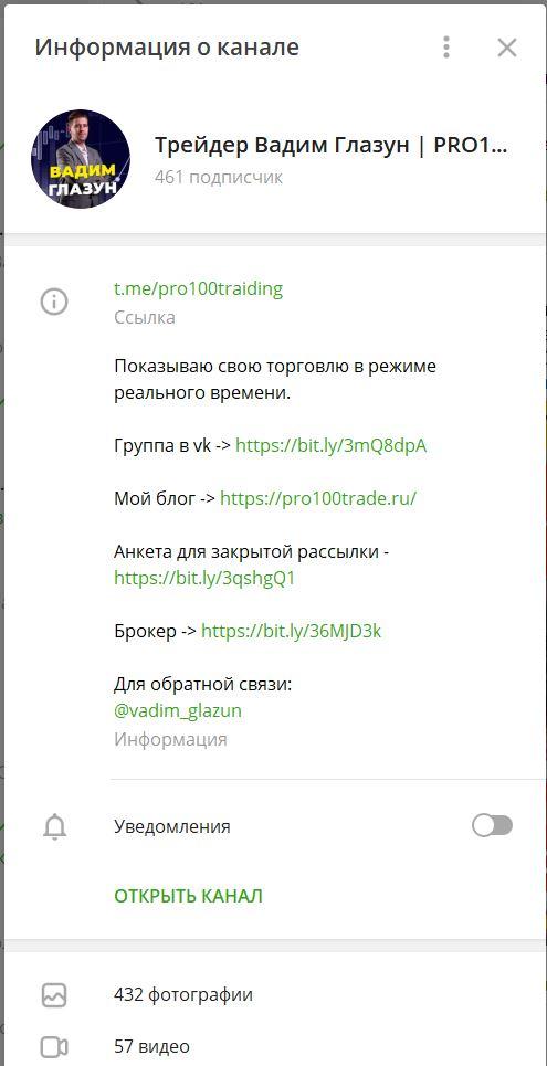 Информация о телеграм канале
