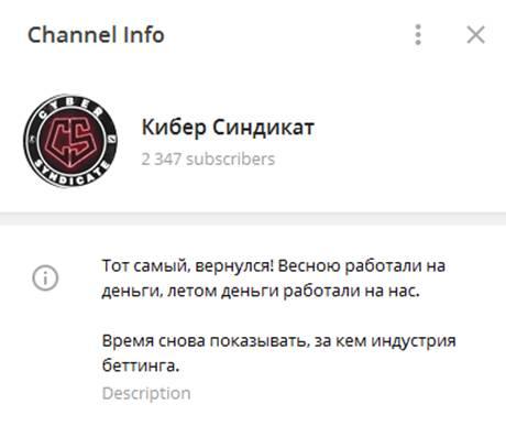 Информация о телеграм-канале Кибер Синдикат