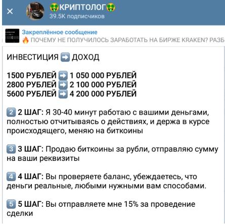 Вложившим в проект 1500 рублей криптолог гарантировал прибыль более 1 млн руб