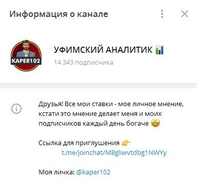 Телеграм-канала «Уфимский аналитик»